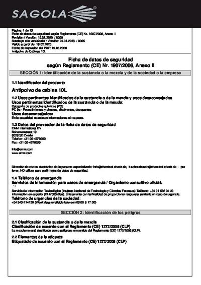 Ficha seguridad Antipolvo