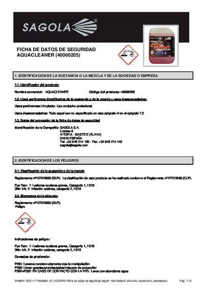 Ficha seguridad Aquacleaner
