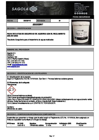 Ficha seguridad Floculante