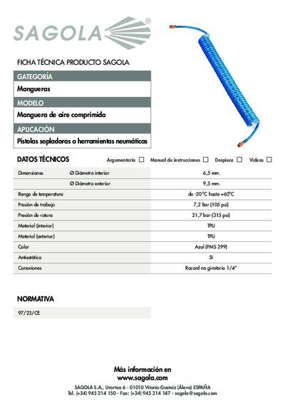 Ficha técnica manguera aire espiral PU