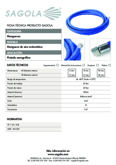 Ficha técnica Manguera de aire anti-estática