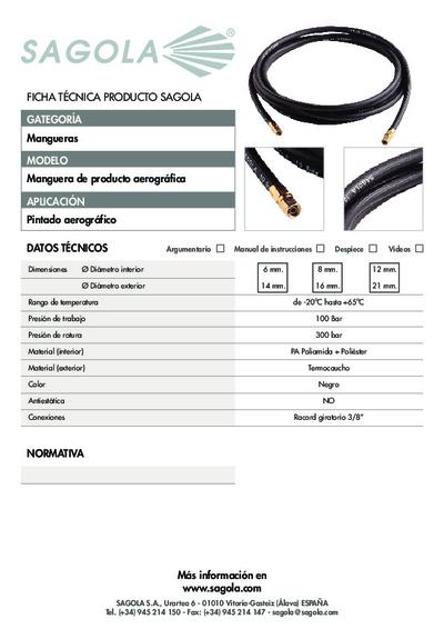 Ficha técnica Manguera de producto