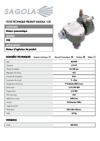 Fiche technique Moteur pneumatique 446