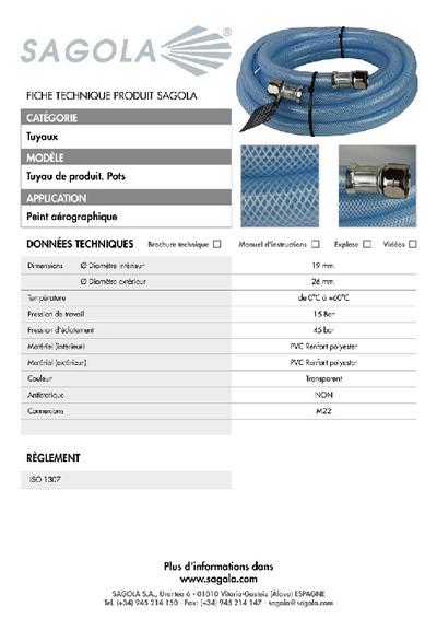 Fiche technique tuyau produit pour pots