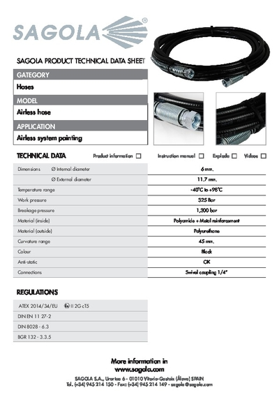 Technical data sheet Airless hose