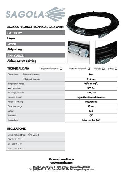 Technical data sheet Airless hose