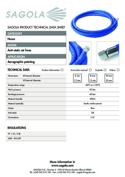 Technical data sheet Anti-static Air hose