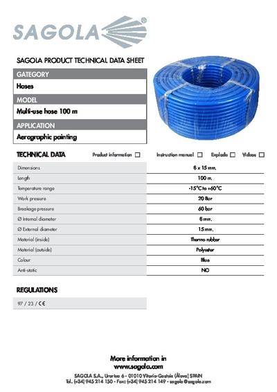 Technical data sheet Multi-use Air hose