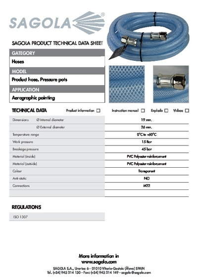 Technical Data Sheet Product Hose. Pressure Pots