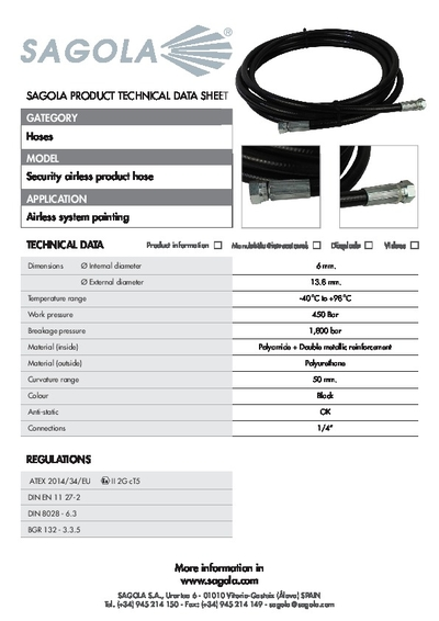 Technical data sheet Security Airless hose