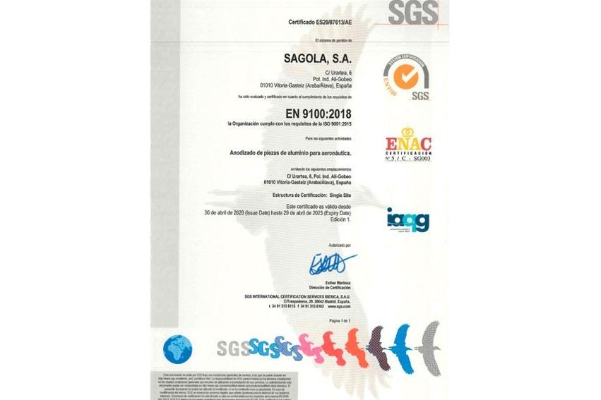 ISO 9100 para anodizado de piezas de aluminio para aeronáutica
